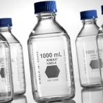 Laborflasche 1000 ml, klar, GL45 mit blauer Schraubkappe