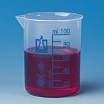 PP Becher, 25 ml, niedrige Form blaue Graduierung
