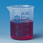 PP Becher, 500 ml, niedrige Form blaue Graduierung