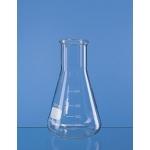 Erlenmeyer-Kolben, Weithals, Boro 3.3     100 ml, mit Bördelrand und Teilung