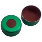 11mm Verschluss  Aluminium Bördelkappe, grün, mit Loch; Natur