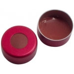 11mm Verschluss  Aluminium Bördelkappe, rot, mit Loch; Naturk