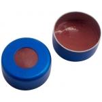 11mm Verschluss  Aluminium Bördelkappe, blau, mit Loch; Natur