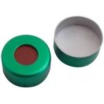 11mm Verschluss  Aluminium Bördelkappe, grün lackiert, mit Lo