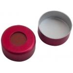 11mm Verschluss  Aluminium Bördelkappe, rot lackiert, mit Loc