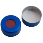 11mm Verschluss  Aluminium Bördelkappe, blau lackiert, mit Lo