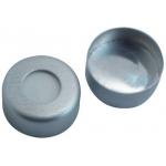 11mm Verschluss Aluminum Bördelkappe, klar lackiert, mit Loch Silicon weiß/Aluminiumfolie silber, 50° shore A, 1,3mm