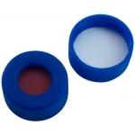11mm Verschluss  PE-Schnappringkappe, blau, mit Loch; weiche