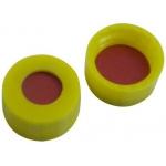 9mm Verschluss, PP Kurzgewindekappe, gelb mit Loch; Naturkautschuk rot-orange/TEF transparent