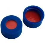 9mm Verschluss,PP Kurzgewindekappe, blau mit Loch; Naturkautschuk rot-orange/TEF transparent,