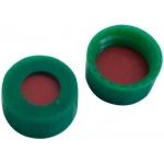 9mm Verschluss, PP Kurzgewindekappe grün, mit Loch; Naturkautschuk rot-orange/TEF transparent
