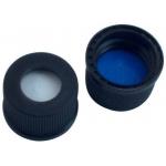 10mm Verschluss  PP Schraubkappe, schwarz, mit Loch, Gewinde