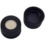 13mm Verschluss Polypropylen-Schraubkappe, schwarz, mit Loch; Butyl creme/PTFE grau