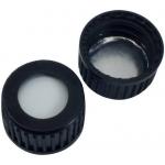 18mm Verschluss  PP Schraubkappe, schwarz, mit Loch; Silicon