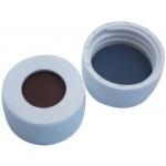 24mm Verschluss  PP Schraubkappe, weiß, mit Loch; Butyl rot/P