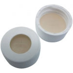 24mm Verschluß  PP- Schraubkappe weiß, 10mm Loch; Silicon nat