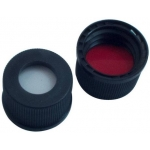 13mm Verschluss: PP Schraubkappe schwarz, mit Loch; Silicon weiß/PTFE rot