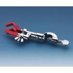 Bürettenklemme, Zinklegierung vernickelt für 2 Büretten, Klemme mit PVC-Überzug